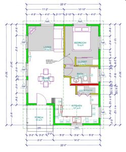 Here's the floor plan of the Fort Bragg Cottage. By providing complete blueprints to Fort Bragg property owners, the City is encouraging the construction of well designed and energy-efficient second units. The plans, given free of charge, saves Fort Bragg property owners design and engineering fees of roughly $10,000.