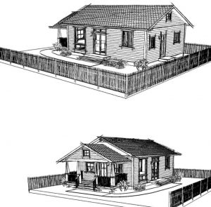 This is the Santa Cruz Craftsman. Commissioned by the City of Santa Cruz, Fort Bragg has paid for the right to provide the complete construction drawings to Fort Bragg property owners.